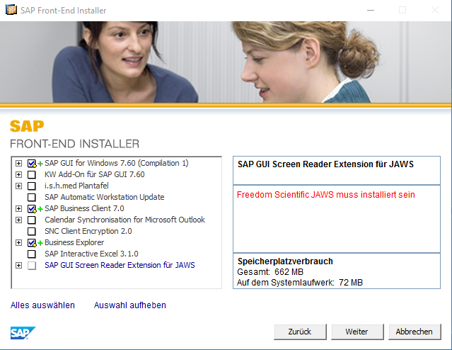 Softwareauswahl des SAP Front-End Installers